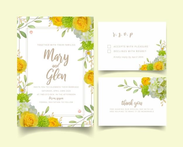 花のバラとアジサイの結婚式の招待状