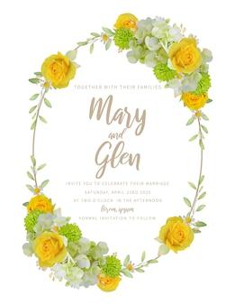 Свадебные приглашения с цветочными розами и гортензией