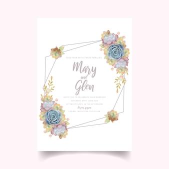 多肉植物の花の結婚式の招待状