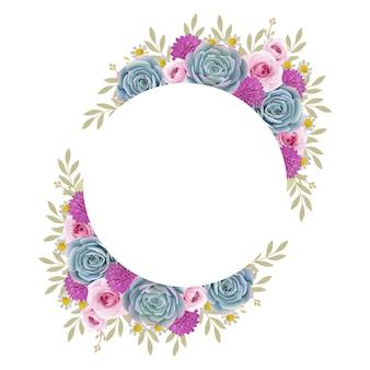 花のバラと多肉植物の美しい愛フレームの背景