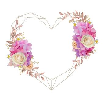 花のピンクのアジサイとバラの花の美しい愛フレームの背景