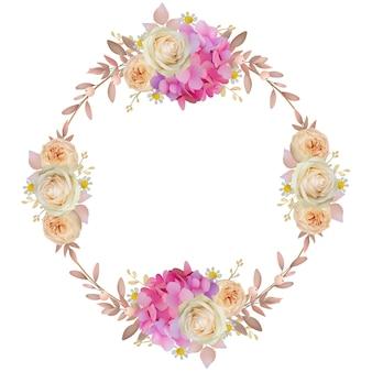 花のピンクのアジサイとバラの花の美しいフレームの背景