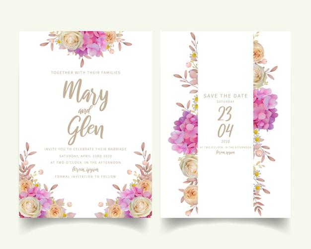 Свадебное приглашение с цветочной розовой гортензией и розовыми цветами