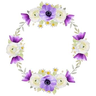 花のラナンキュラスとアネモネの花の美しいフレームの背景