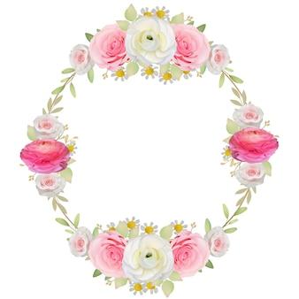 Красивый фон рамки с цветочным розовым лютиком и розовыми цветами
