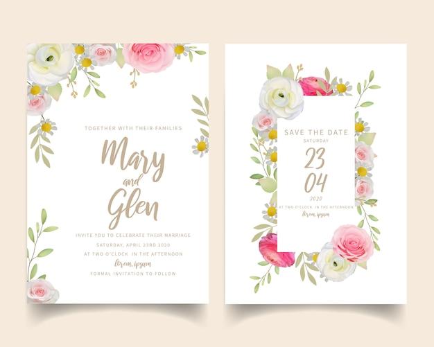 Свадебное приглашение с цветочным розовым лютиком и розовыми цветами