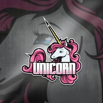 Кибер талисман логотип команда единорог отряд