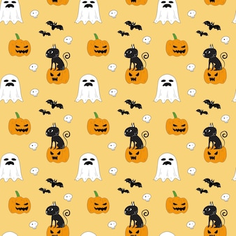 ハロウィンのシームレスなパターン。