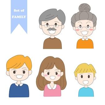 手描きの家族のセット。