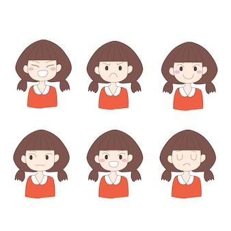手描きの女の子のセット
