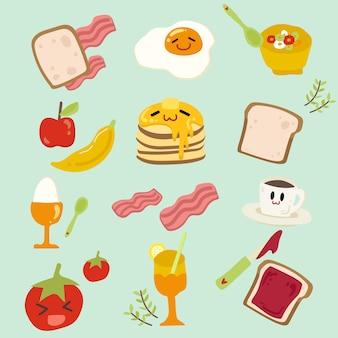 Комплект милой иллюстрации завтрака.
