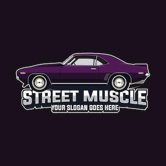 マッスルカーのロゴのベクトルテンプレート