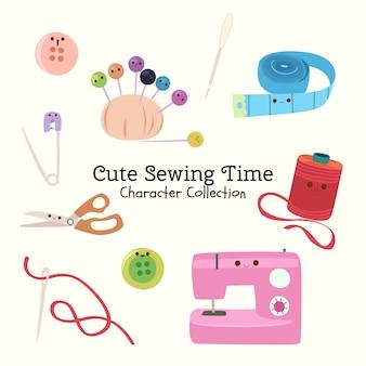 Симпатичная коллекция символов времени шитья