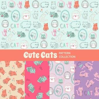Симпатичные кошки симпатичные радуга бесшовные шаблон