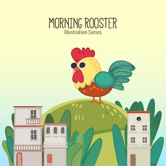 朝のオンドリ