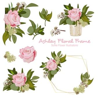 アシュリー幾何学的な花のフレームの装飾