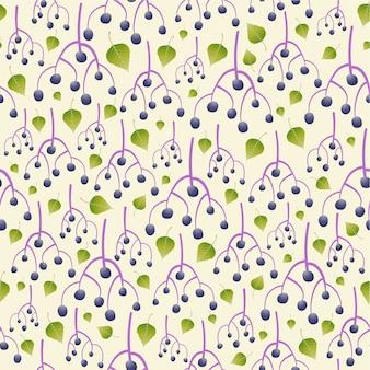 エルダーベリーのシームレスなパターンの背景