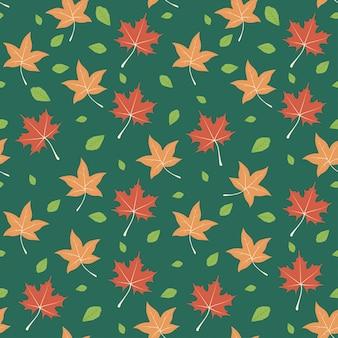 秋の葉はシームレスなパターンの背景を残す