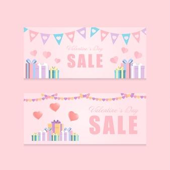 愛祭りとギフトボックスバレンタインデーのテーマピンク色のトーンプロモーションバナーのベクトルの背景