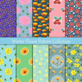 花のコレクションは、冬の季節のシームレスパターンで咲く