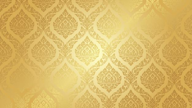 タイのパターン最高の金の背景