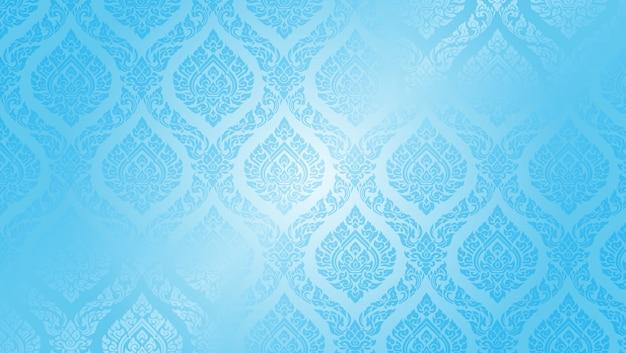 Тайский узор высший синий фон
