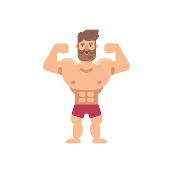 若い筋肉のひげのある男のフラットイラスト。フィットネスフラットキャラクター