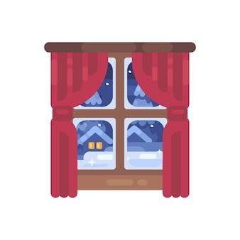 赤いカーテンフラットイラストの冬の窓。クリスマスフラットアイコン