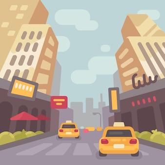タクシーの車で近代的な街の通り