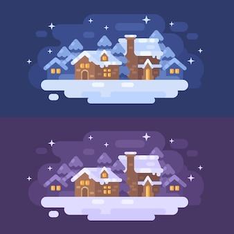 Снежная зимняя деревня пейзаж плоская иллюстрация. рождественские поздравительные открытки
