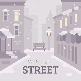 雪の多い冬の街通りのフラットイラスト。テキスト付きモノクロ冬の背景