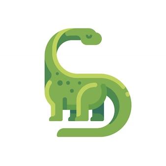 緑色の二焦点焦点フラットアイコン。ロングネックの草食的な恐竜のキャラクターのイラスト。