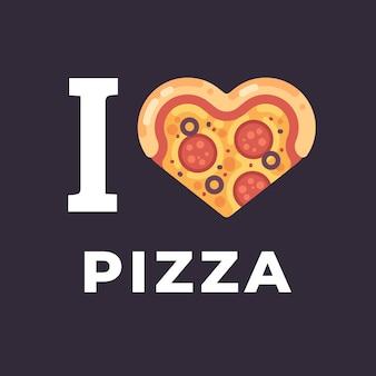 Я люблю пиццу плоской иллюстрации