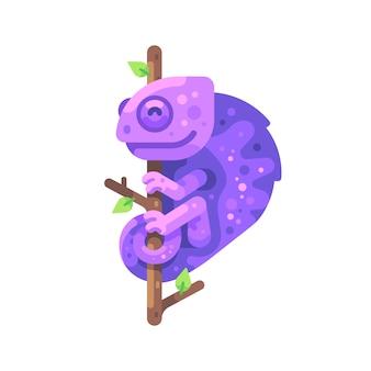 木の枝に座っている紫色のカメレオン。エキゾチックな動物フラットイラスト
