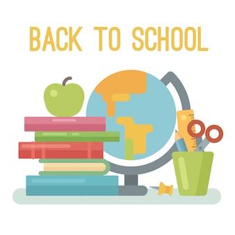 Куча книг, яблоко, глобус, булавка, стакан с ножницами, линейка и карандаш на белом
