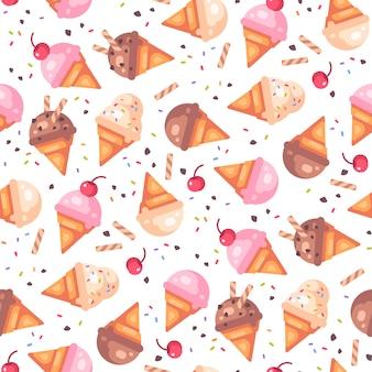 さまざまなアイスクリームコーンのシームレスパターン