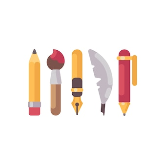描画ツールと描画ツールのフラットアイコンのセット。鉛筆、ペン、羽毛、絵筆