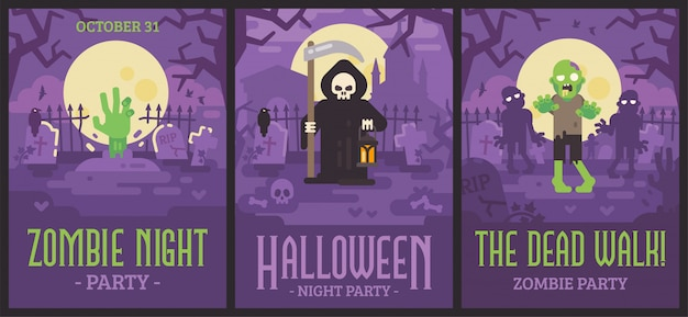 Три плаката на хэллоуин со сценами на кладбище
