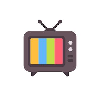 Старый телевизор с ошибкой экрана. ретро тв без сигнала плоский значок