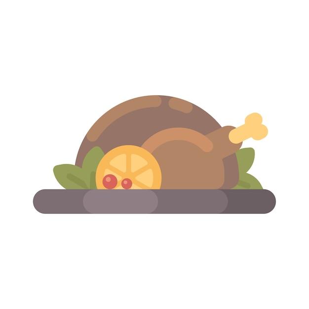 感謝祭七面鳥料理のフラットイラスト