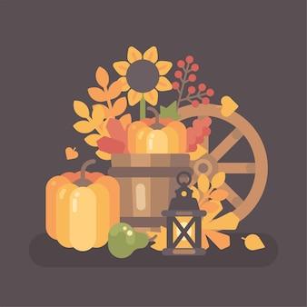 秋の農村の静物のシーン。秋の収穫の背景フラットイラスト