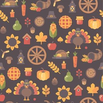 秋のアイコンシームレスなパターン。感謝祭の背景フラットイラスト