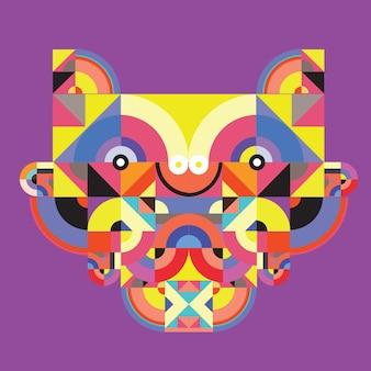 ベクトルポップアートフラット多角形イラストヘッド虎