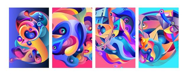 現代の抽象的なカラフルなベクトルポスターの背景のセット