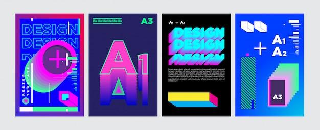 鮮やかな色の抽象的な幾何学的なコラージュポスターデザイン