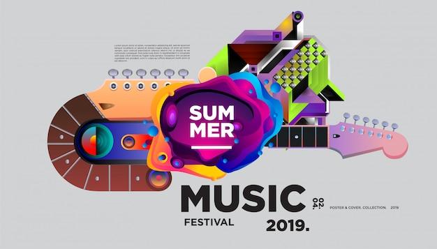 Шаблон плаката фестиваля летнего красочного искусства и музыки