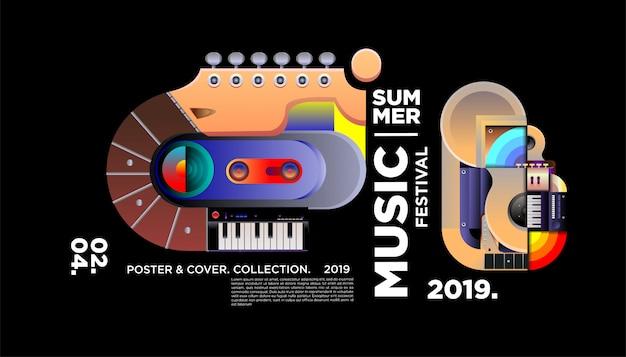 Шаблон плаката фестиваля творческой музыки