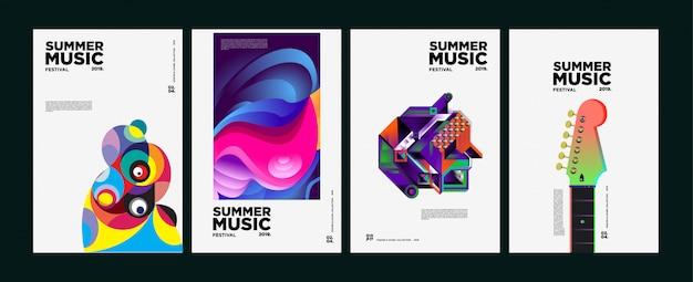 夏のカラフルな芸術と音楽祭のポスターとカバー