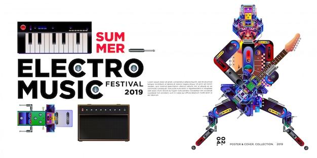 ベクトル夏エレクトロ音楽祭バナーデザインテンプレート