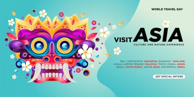 Всемирный день путешествий азиатский визит баннер шаблон